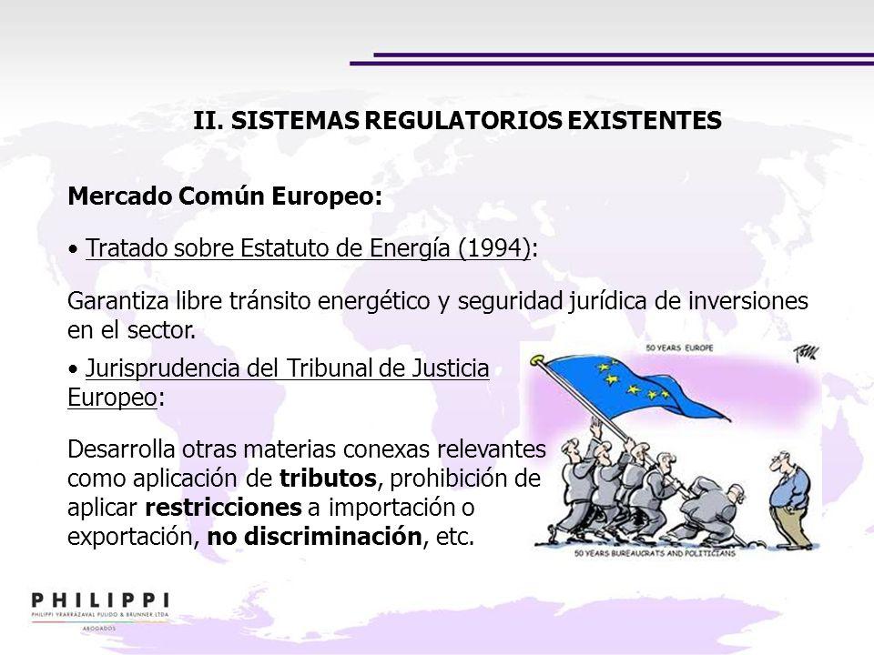 II. SISTEMAS REGULATORIOS EXISTENTES Jurisprudencia del Tribunal de Justicia Europeo: Desarrolla otras materias conexas relevantes como aplicación de