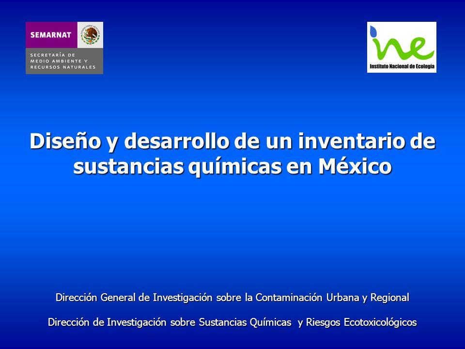 Antecedente México no cuenta con un inventario de sustancias químicas Incertidumbre en la presencia de SQ Limita identificación y manejo de riesgos ambientales – respuesta a problemas que afectan la calidad del ambiente Limita el cumplimiento de convenios y acuerdos internacionales