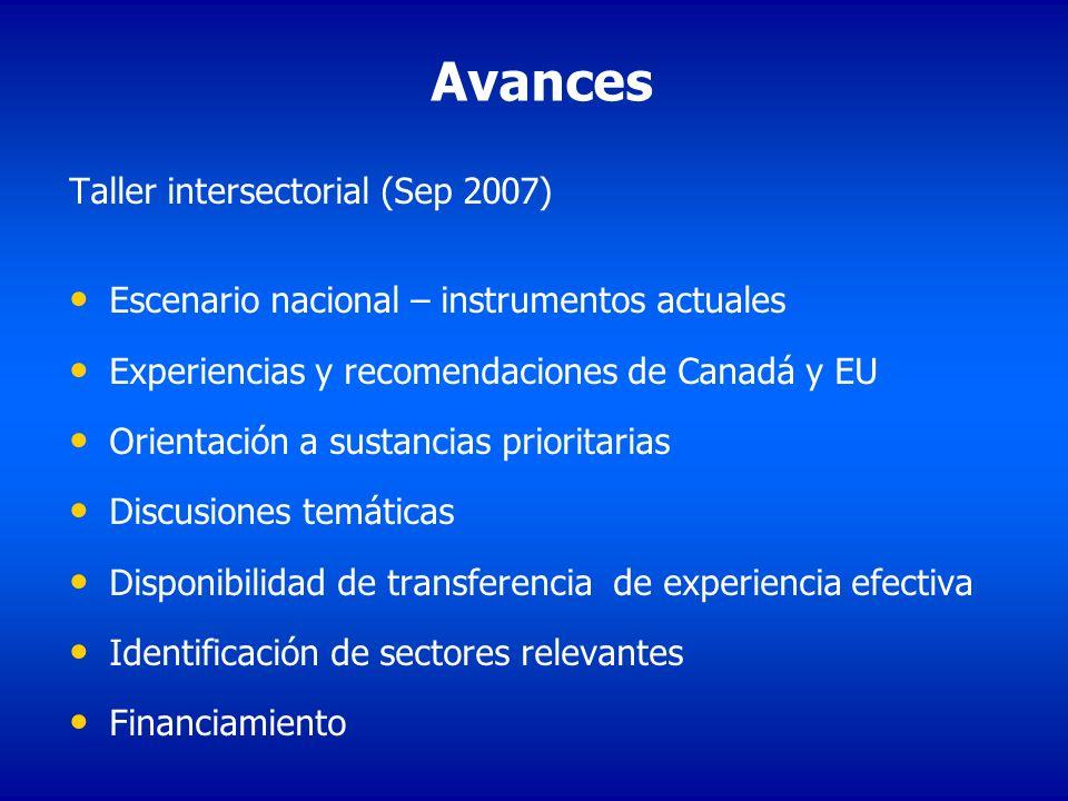 Avances Taller intersectorial (Sep 2007) Escenario nacional – instrumentos actuales Experiencias y recomendaciones de Canadá y EU Orientación a sustan