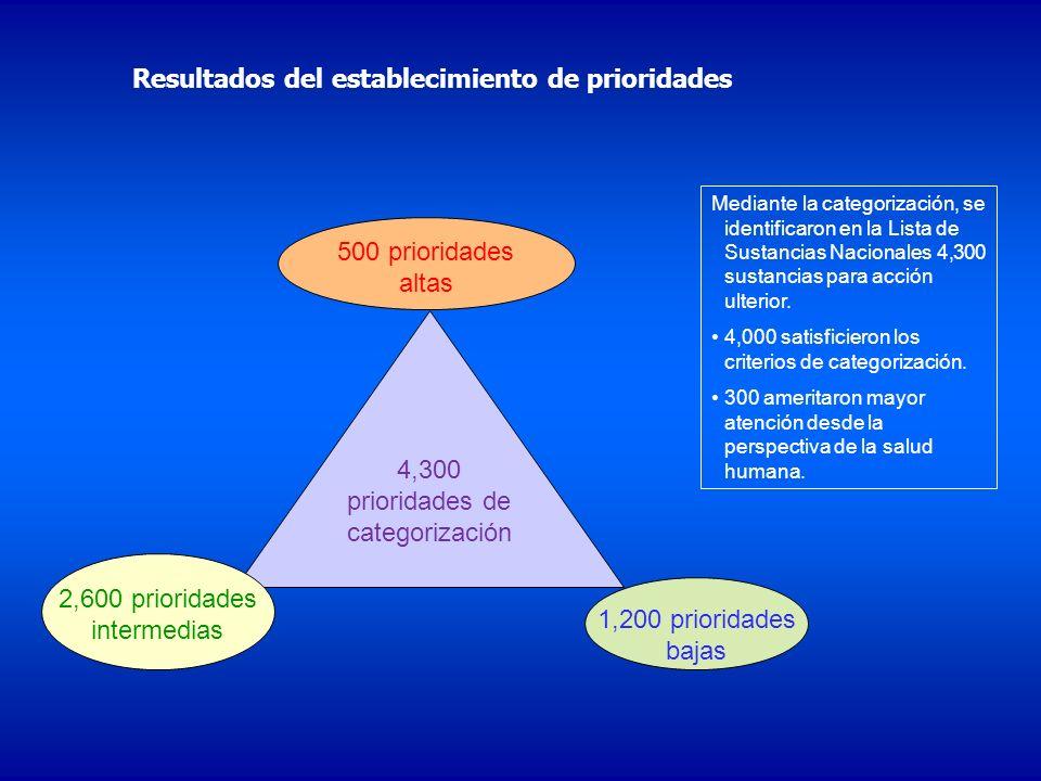 4,300 prioridades de categorización 2,600 prioridades intermedias 500 prioridades altas 1,200 prioridades bajas Mediante la categorización, se identif