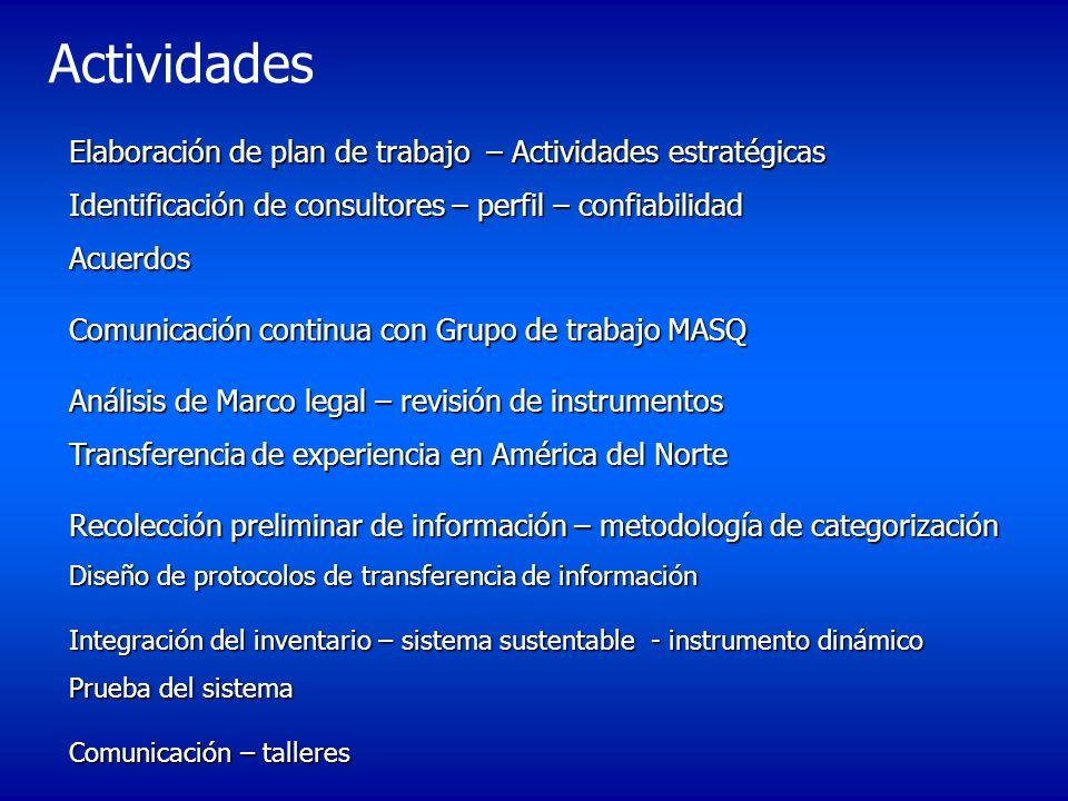 Actividades Elaboración de plan de trabajo – Actividades estratégicas Identificación de consultores – perfil – confiabilidad Acuerdos Comunicación con