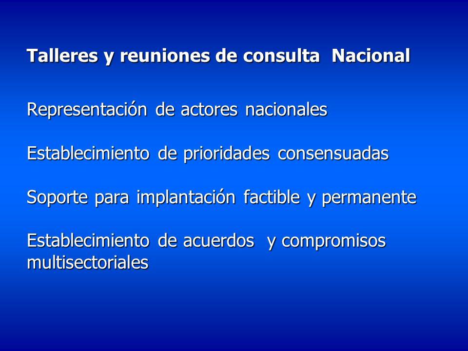 Talleres y reuniones de consulta Nacional Representación de actores nacionales Establecimiento de prioridades consensuadas Soporte para implantación f