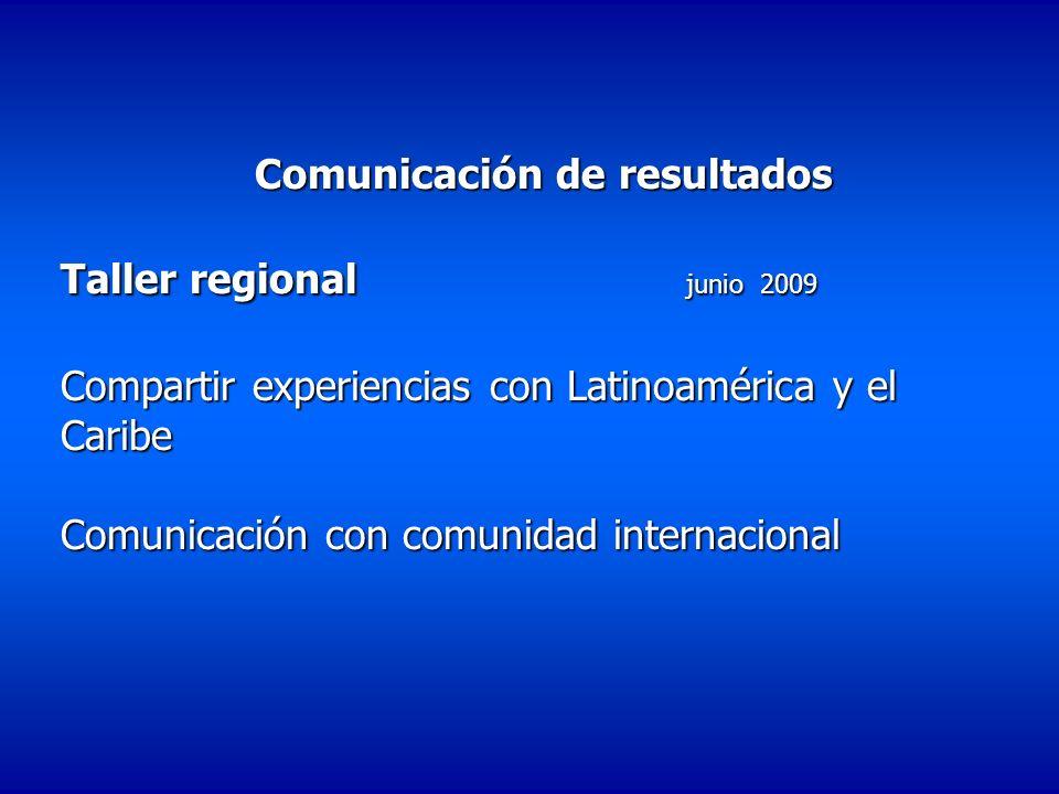 Comunicación de resultados Taller regional junio 2009 Compartir experiencias con Latinoamérica y el Caribe Comunicación con comunidad internacional Co