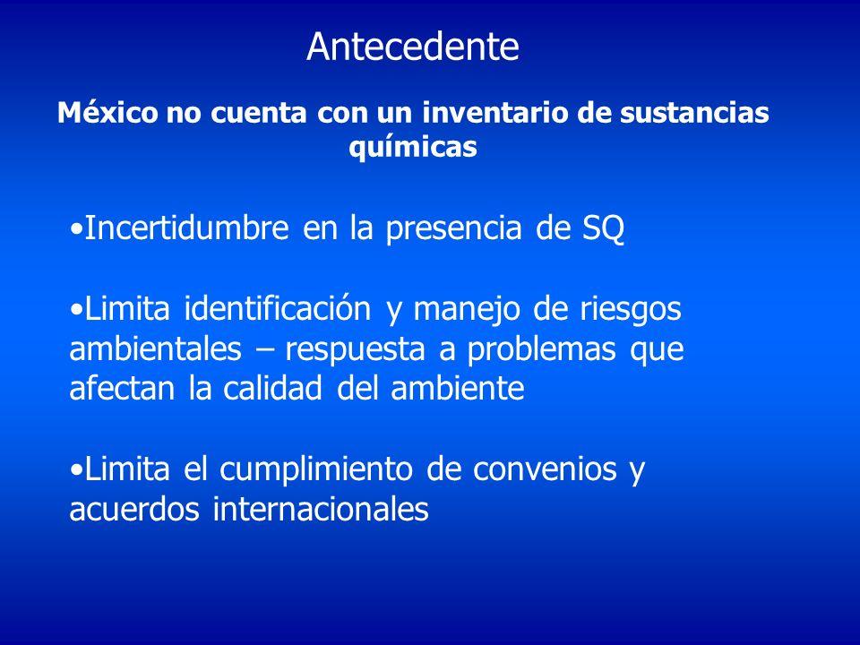 Antecedente México no cuenta con un inventario de sustancias químicas Incertidumbre en la presencia de SQ Limita identificación y manejo de riesgos am