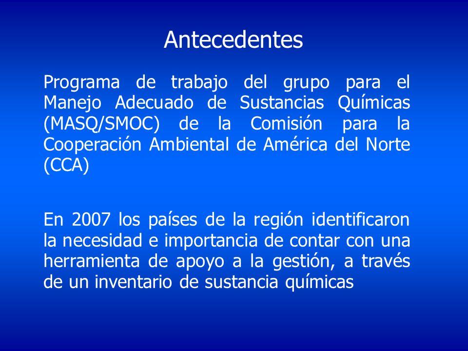 Antecedentes Programa de trabajo del grupo para el Manejo Adecuado de Sustancias Químicas (MASQ/SMOC) de la Comisión para la Cooperación Ambiental de