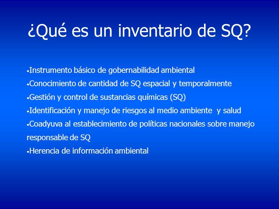 Instrumento básico de gobernabilidad ambiental Conocimiento de cantidad de SQ espacial y temporalmente Gestión y control de sustancias químicas (SQ) I