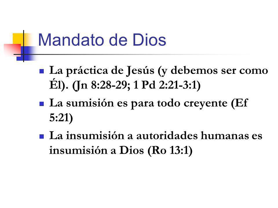 Mandato de Dios La práctica de Jesús (y debemos ser como Él). (Jn 8:28-29; 1 Pd 2:21-3:1) La sumisión es para todo creyente (Ef 5:21) La insumisión a