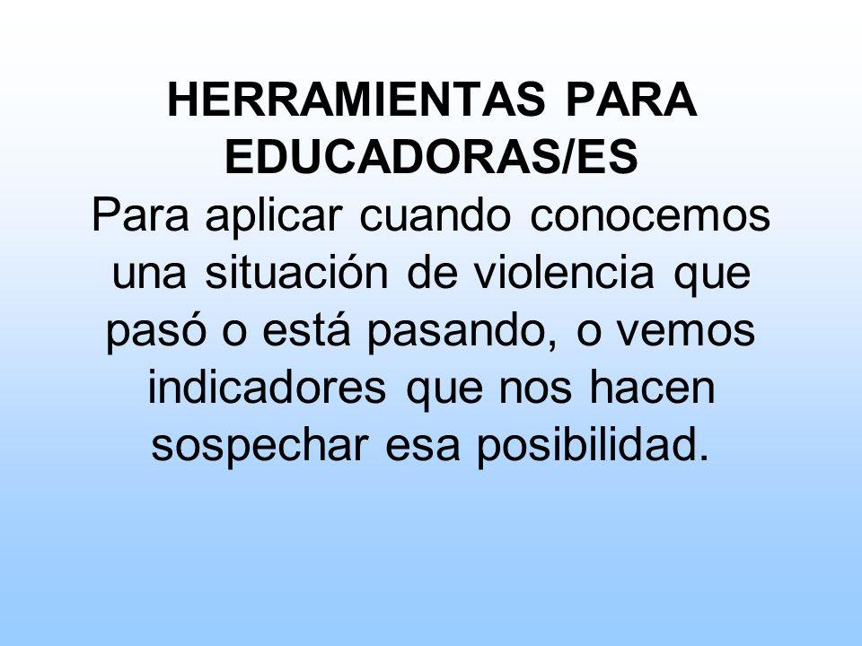 HERRAMIENTAS PARA EDUCADORAS/ES Para aplicar cuando conocemos una situación de violencia que pasó o está pasando, o vemos indicadores que nos hacen sospechar esa posibilidad.