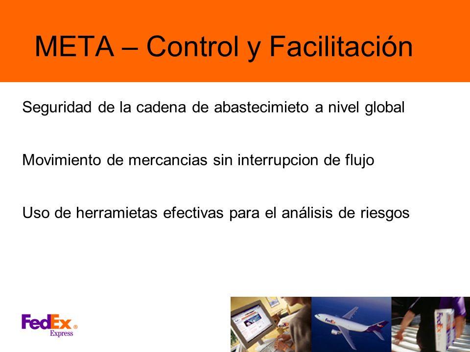 META – Control y Facilitación Seguridad de la cadena de abastecimieto a nivel global Movimiento de mercancias sin interrupcion de flujo Uso de herrami