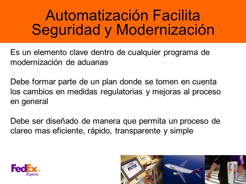 Automatización Facilita Seguridad y Modernización Es un elemento clave dentro de cualquier programa de modernización de aduanas Debe formar parte de u