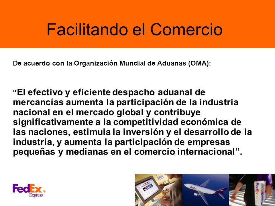 Facilitando el Comercio De acuerdo con la Organización Mundial de Aduanas (OMA): El efectivo y eficiente despacho aduanal de mercancías aumenta la par