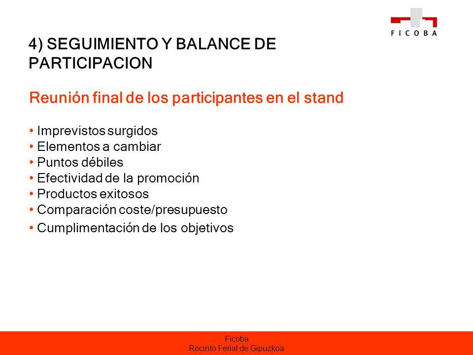 Ficoba Recinto Ferial de Gipuzkoa 4) SEGUIMIENTO Y BALANCE DE PARTICIPACION Reunión final de los participantes en el stand Imprevistos surgidos Elemen