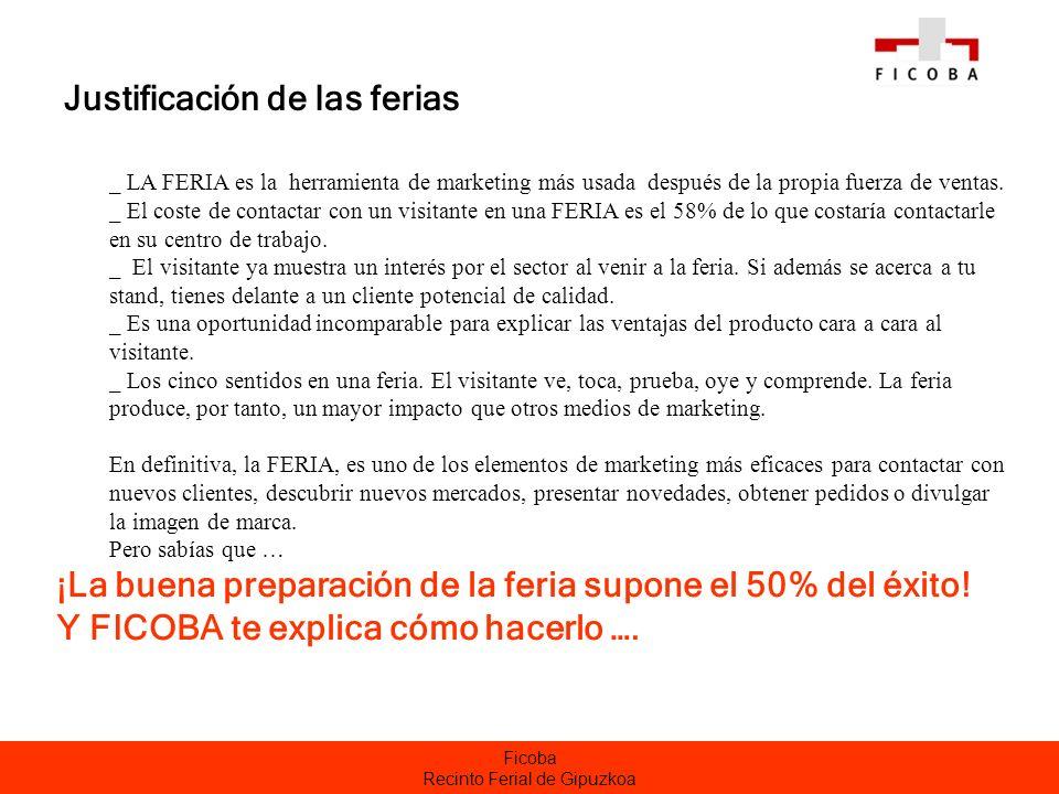 Ficoba Recinto Ferial de Gipuzkoa Justificación de las ferias _ LA FERIA es la herramienta de marketing más usada después de la propia fuerza de venta