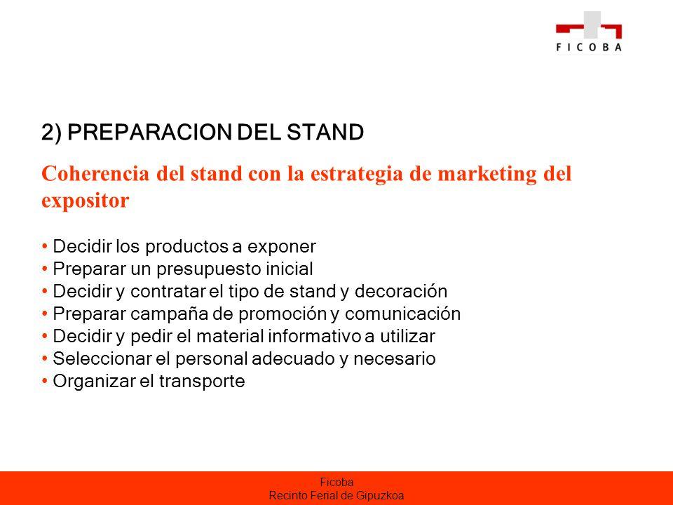 Ficoba Recinto Ferial de Gipuzkoa 2) PREPARACION DEL STAND Coherencia del stand con la estrategia de marketing del expositor Decidir los productos a e