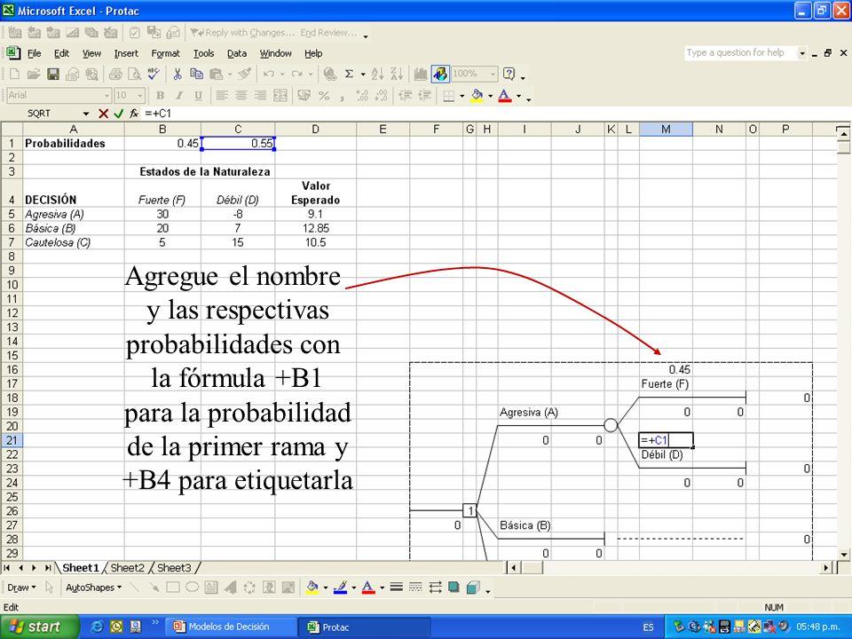 Agregue el nombre y las respectivas probabilidades con la fórmula +B1 para la probabilidad de la primer rama y +B4 para etiquetarla