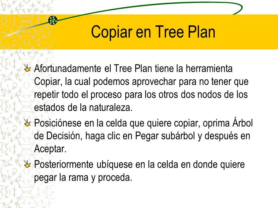 Copiar en Tree Plan Afortunadamente el Tree Plan tiene la herramienta Copiar, la cual podemos aprovechar para no tener que repetir todo el proceso par