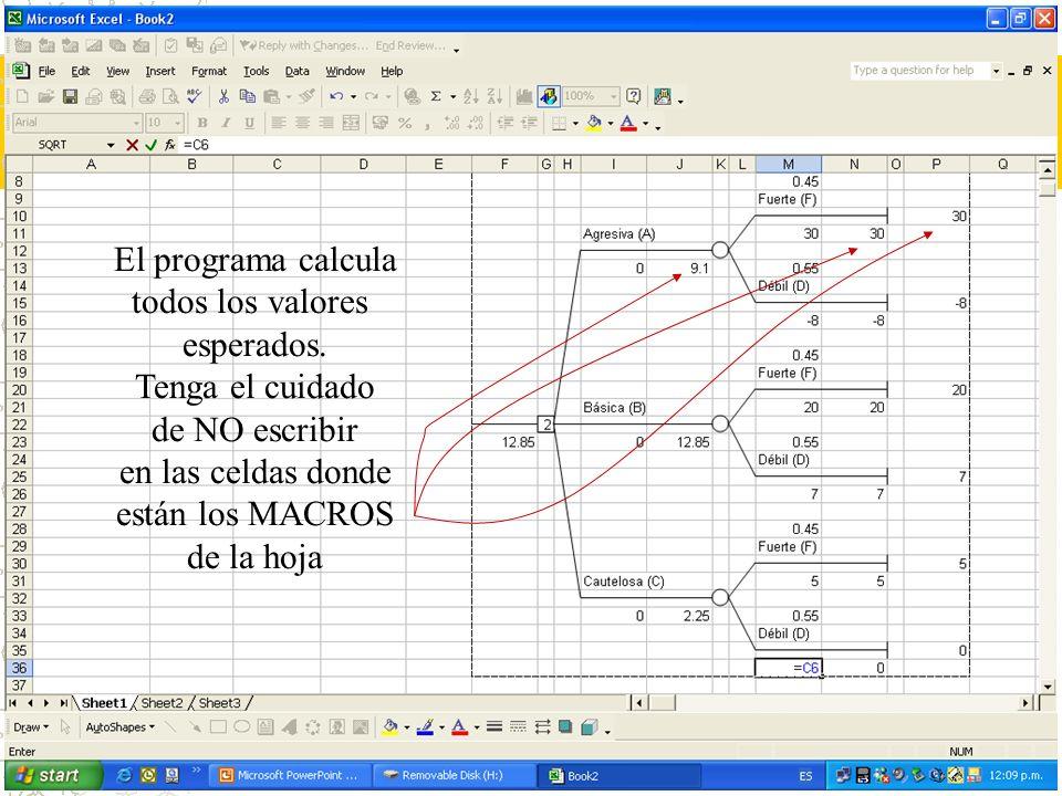 El programa calcula todos los valores esperados. Tenga el cuidado de NO escribir en las celdas donde están los MACROS de la hoja