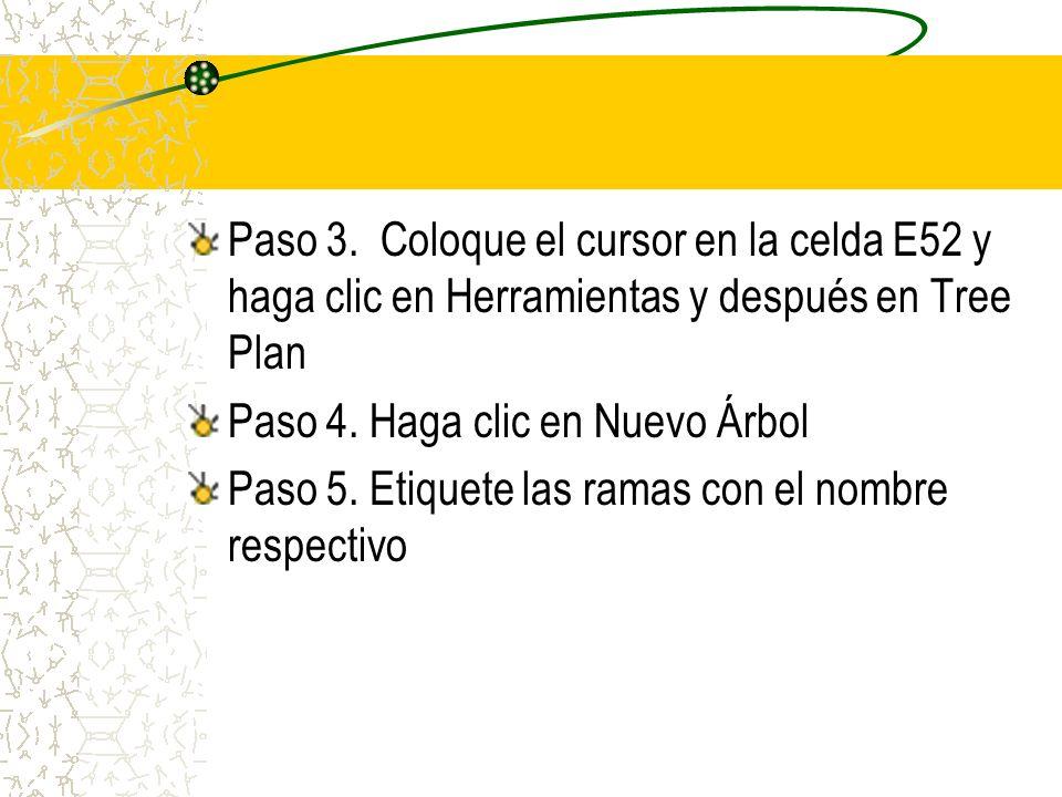 Paso 3. Coloque el cursor en la celda E52 y haga clic en Herramientas y después en Tree Plan Paso 4. Haga clic en Nuevo Árbol Paso 5. Etiquete las ram