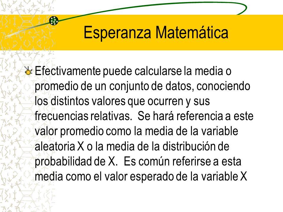 Esperanza Matemática Efectivamente puede calcularse la media o promedio de un conjunto de datos, conociendo los distintos valores que ocurren y sus fr