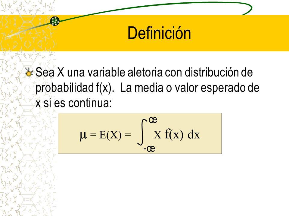 Definición Sea X una variable aletoria con distribución de probabilidad f(x). La media o valor esperado de x si es continua: µ = E(X) = X f (x) dx -œ