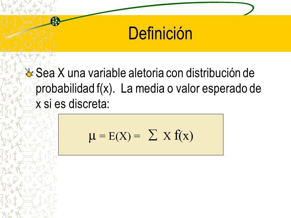 Definición Sea X una variable aletoria con distribución de probabilidad f(x). La media o valor esperado de x si es discreta: µ = E(X) = X f (x)