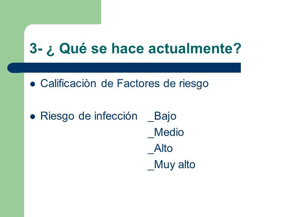 3- ¿ Qué se hace actualmente? Calificaciòn de Factores de riesgo Riesgo de infección _Bajo _Medio _Alto _Muy alto