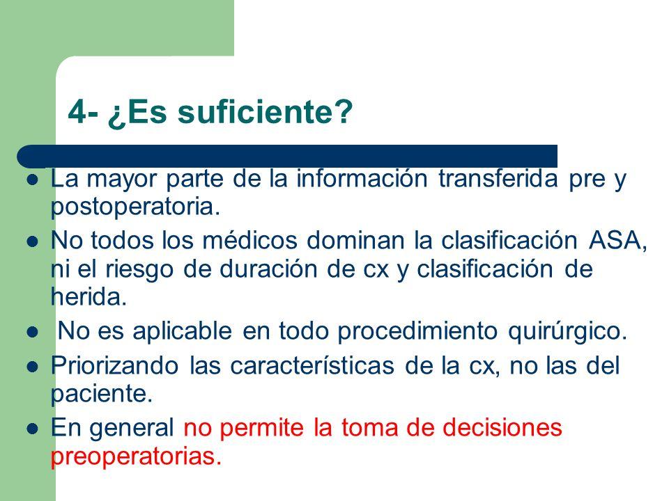4- ¿Es suficiente? La mayor parte de la información transferida pre y postoperatoria. No todos los médicos dominan la clasificación ASA, ni el riesgo