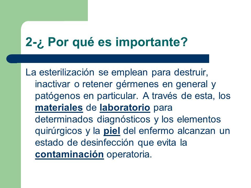 La esterilización se emplean para destruir, inactivar o retener gérmenes en general y patógenos en particular. A través de esta, los materiales de lab