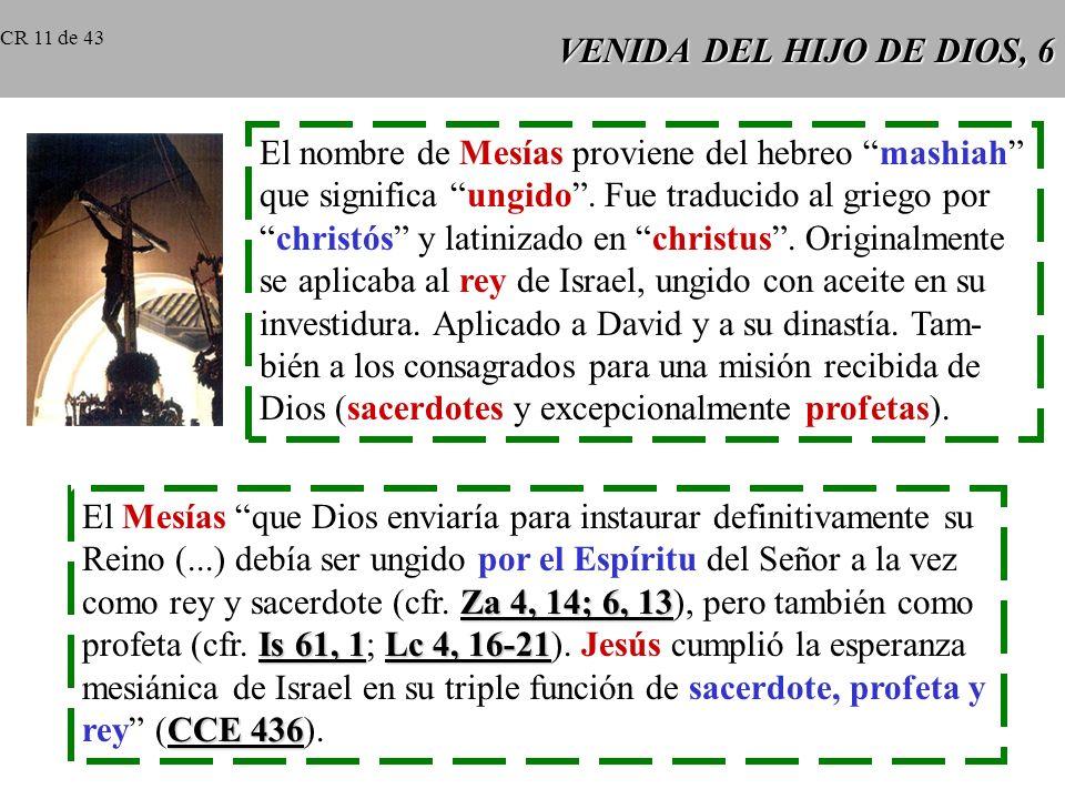 VENIDA DEL HIJO DE DIOS, 5 Profecías sobre el Mesías rey y profeta: Moisés, Dt 18, 15-19 tipo y figura de todos los profetas. Dt 18, 15-19: Dios envia
