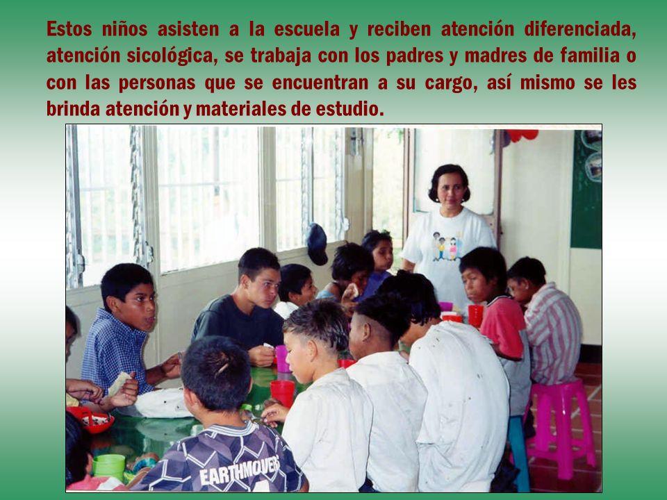 Estos niños asisten a la escuela y reciben atención diferenciada, atención sicológica, se trabaja con los padres y madres de familia o con las persona