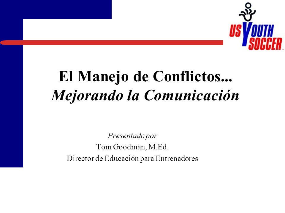 El Manejo de Conflictos...Mejorando la Comunicación Presentado por Tom Goodman, M.Ed.