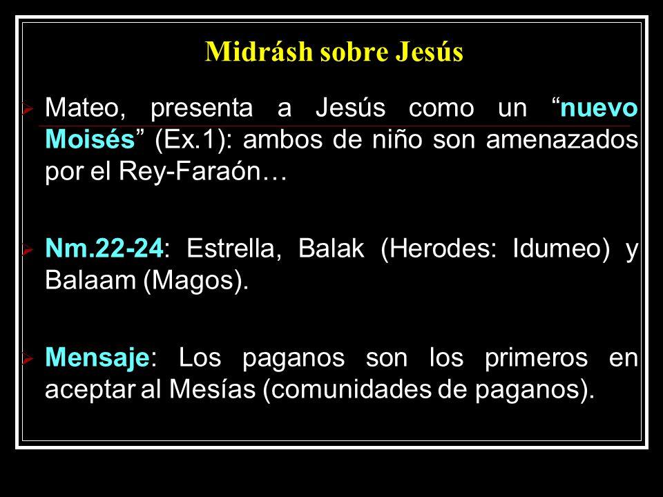 Midrásh sobre Jesús Mateo, presenta a Jesús como un nuevo Moisés (Ex.1): ambos de niño son amenazados por el Rey-Faraón… Nm.22-24: Estrella, Balak (Herodes: Idumeo) y Balaam (Magos).