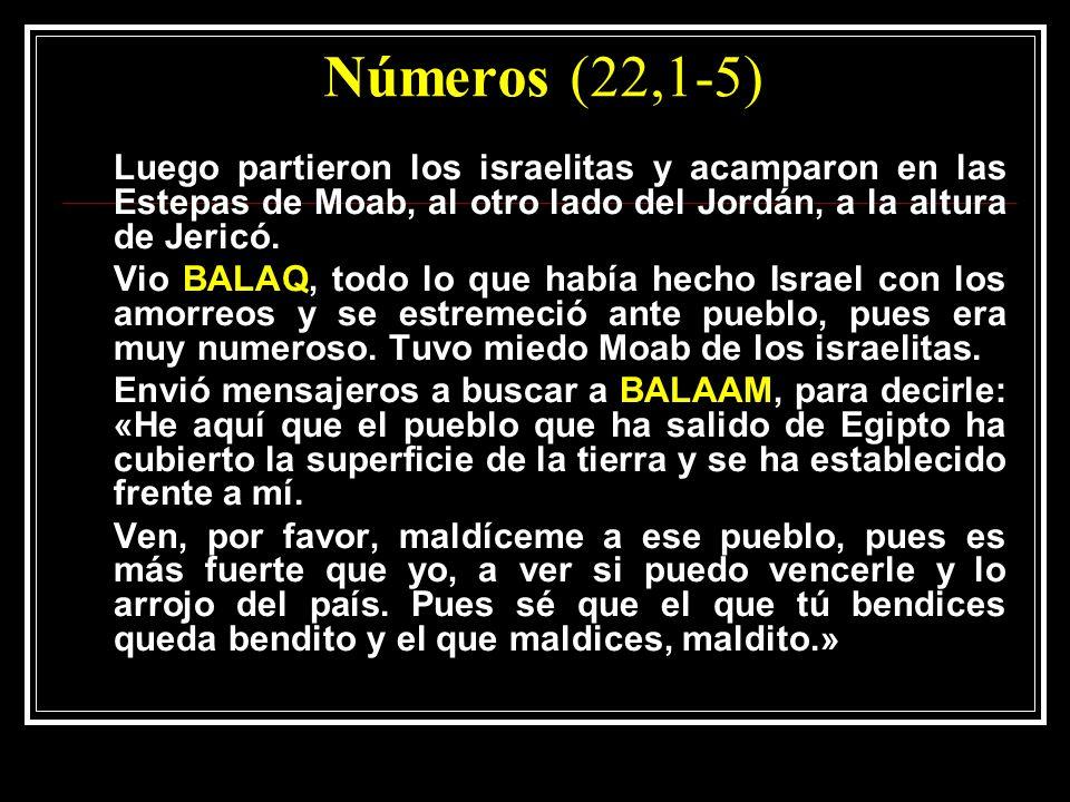 Números (22,1-5) Luego partieron los israelitas y acamparon en las Estepas de Moab, al otro lado del Jordán, a la altura de Jericó. Vio BALAQ, todo lo