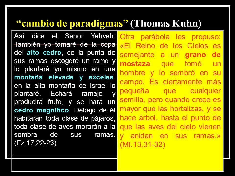 cambio de paradigmas (Thomas Kuhn) Así dice el Señor Yahveh: También yo tomaré de la copa del alto cedro, de la punta de sus ramas escogeré un ramo y lo plantaré yo mismo en una montaña elevada y excelsa: en la alta montaña de Israel lo plantaré.