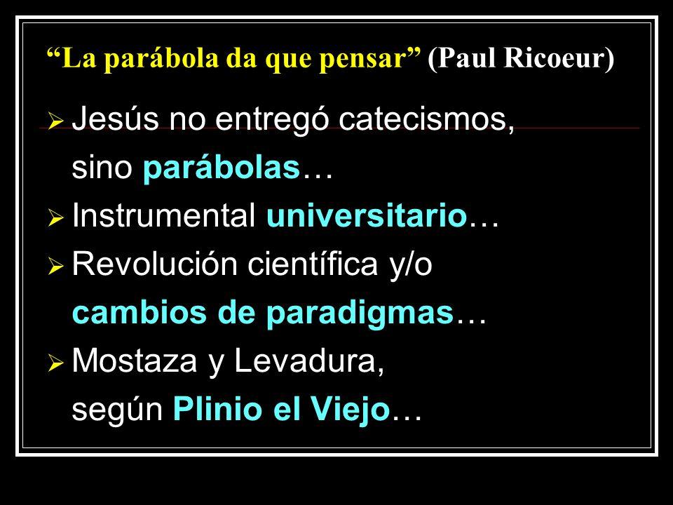 La parábola da que pensar (Paul Ricoeur) Jesús no entregó catecismos, sino parábolas… Instrumental universitario… Revolución científica y/o cambios de paradigmas… Mostaza y Levadura, según Plinio el Viejo…