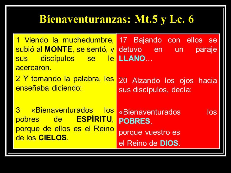 Bienaventuranzas: Mt.5 y Lc.