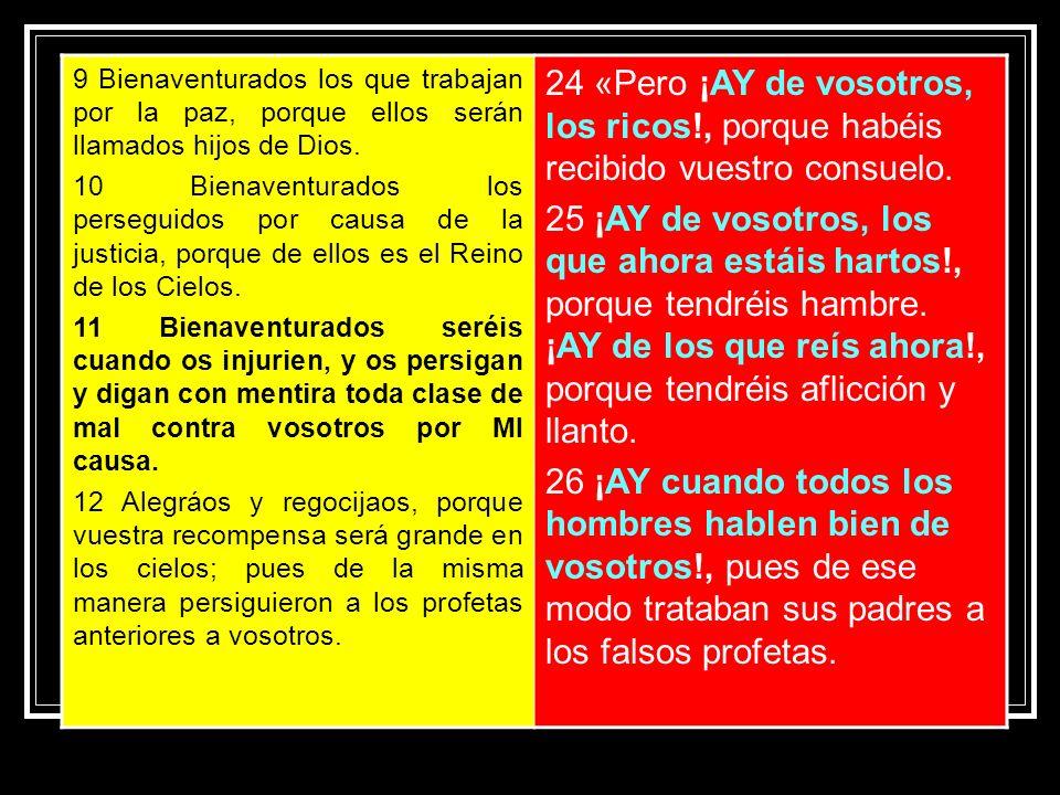 9 Bienaventurados los que trabajan por la paz, porque ellos serán llamados hijos de Dios.