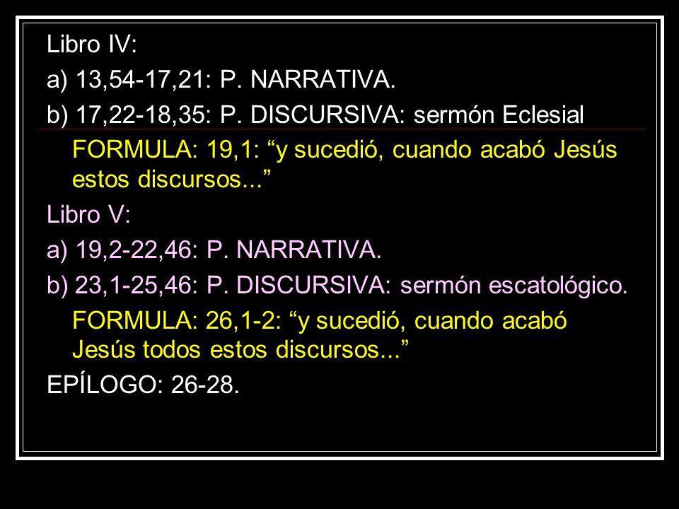 Libro IV: a) 13,54-17,21: P. NARRATIVA. b) 17,22-18,35: P. DISCURSIVA: sermón Eclesial FORMULA: 19,1: y sucedió, cuando acabó Jesús estos discursos...