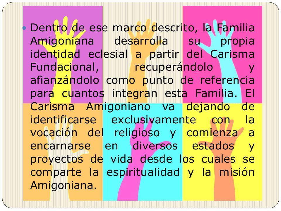Dentro de ese marco descrito, la Familia Amigoniana desarrolla su propia identidad eclesial a partir del Carisma Fundacional, recuperándolo y afianzán