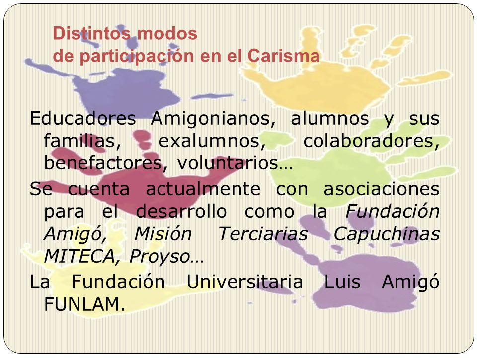 Distintos modos de participación en el Carisma Educadores Amigonianos, alumnos y sus familias, exalumnos, colaboradores, benefactores, voluntarios… Se