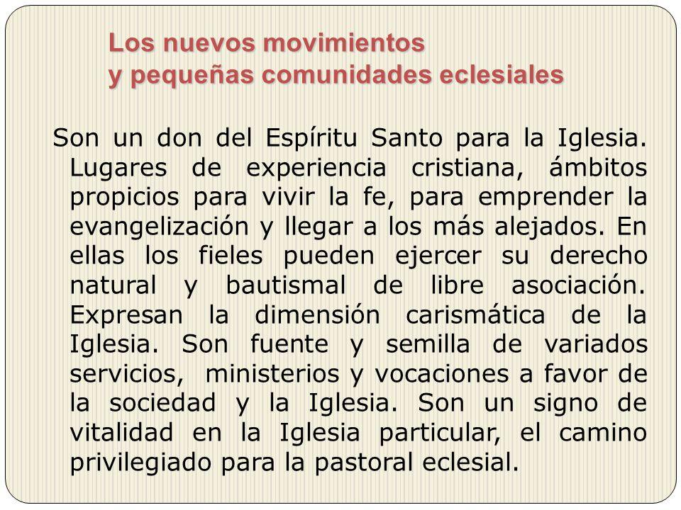 Los nuevos movimientos y pequeñas comunidades eclesiales Son un don del Espíritu Santo para la Iglesia. Lugares de experiencia cristiana, ámbitos prop