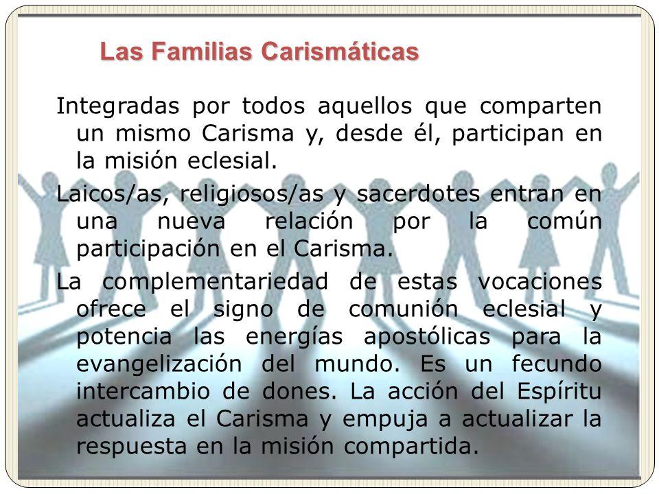 Integradas por todos aquellos que comparten un mismo Carisma y, desde él, participan en la misión eclesial. Laicos/as, religiosos/as y sacerdotes entr