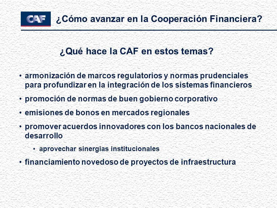 ¿Cómo avanzar en la Cooperación Financiera? ¿Qué hace la CAF en estos temas? armonización de marcos regulatorios y normas prudenciales para profundiza