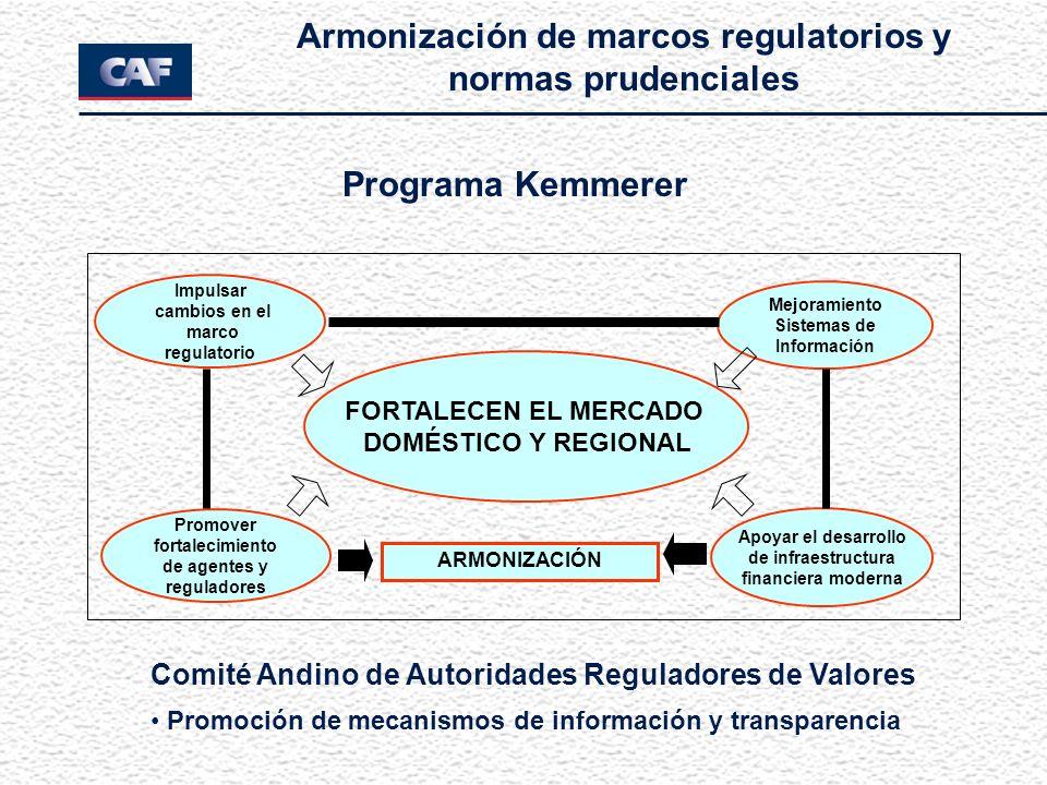 Programa Kemmerer FORTALECEN EL MERCADO DOMÉSTICO Y REGIONAL Promover fortalecimiento de agentes y reguladores Apoyar el desarrollo de infraestructura financiera moderna Mejoramiento Sistemas de Información Impulsar cambios en el marco regulatorio ARMONIZACIÓN Armonización de marcos regulatorios y normas prudenciales Comité Andino de Autoridades Reguladores de Valores Promoción de mecanismos de información y transparencia