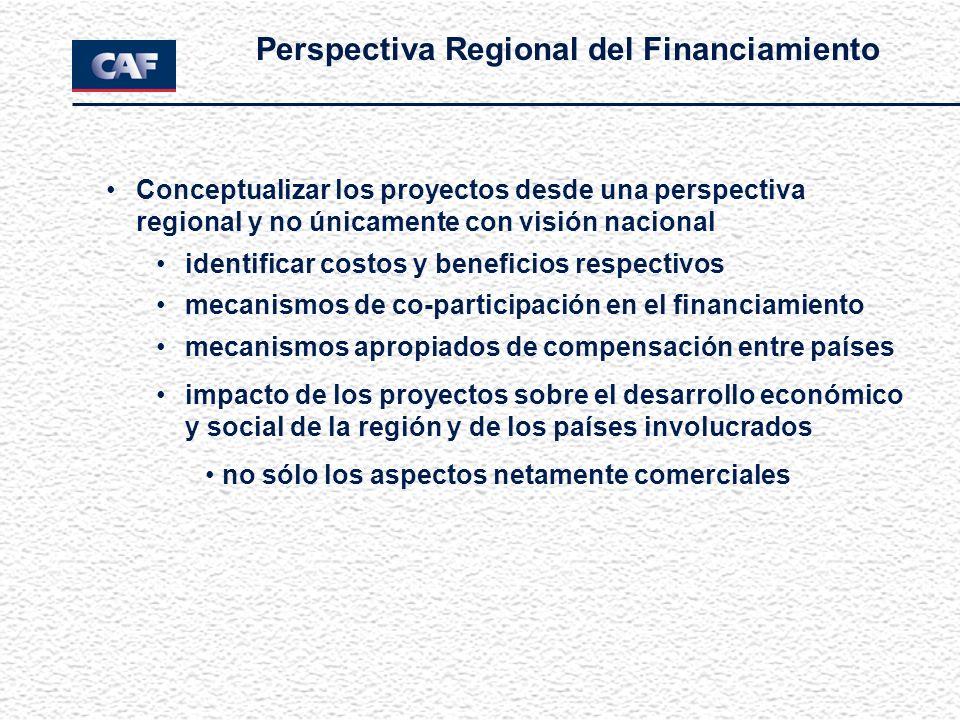Perspectiva Regional del Financiamiento Conceptualizar los proyectos desde una perspectiva regional y no únicamente con visión nacional identificar co