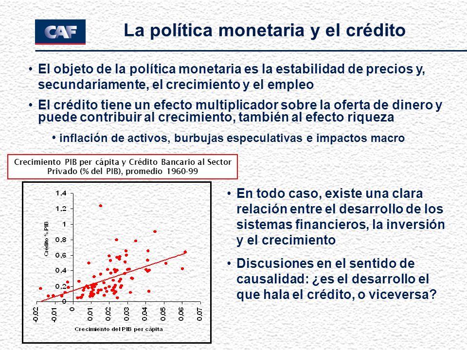 La política monetaria y el crédito El objeto de la política monetaria es la estabilidad de precios y, secundariamente, el crecimiento y el empleo El c