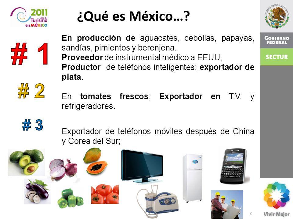 ¿Qué es México…? En producción de aguacates, cebollas, papayas, sandías, pimientos y berenjena. Proveedor de instrumental médico a EEUU; Productor de