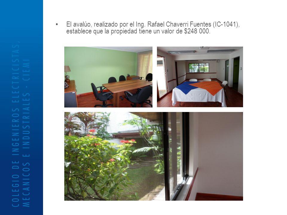 El avalúo, realizado por el Ing. Rafael Chaverri Fuentes (IC-1041), establece que la propiedad tiene un valor de $248 000.