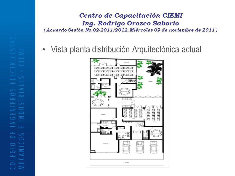 Centro de Capacitación CIEMI Ing. Rodrigo Orozco Saborio ( Acuerdo Sesión No.02-2011/2012, Miércoles 09 de noviembre de 2011 ) Vista planta distribuci