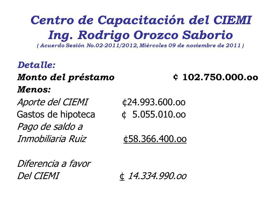 Centro de Capacitación del CIEMI Ing. Rodrigo Orozco Saborio ( Acuerdo Sesión No.02-2011/2012, Miércoles 09 de noviembre de 2011 ) Detalle: Monto del